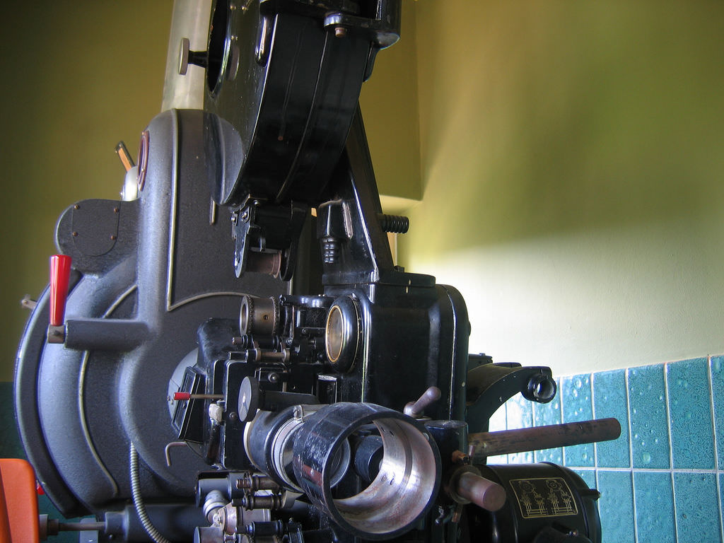 A film projector.
