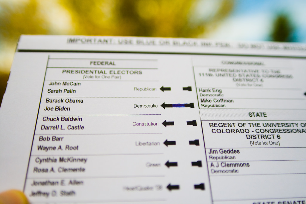 A ballot from the 2008 general election.