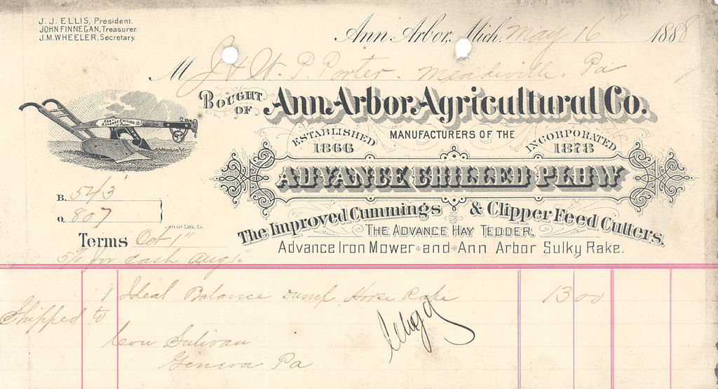 An old invoice from an agricultural supply company.