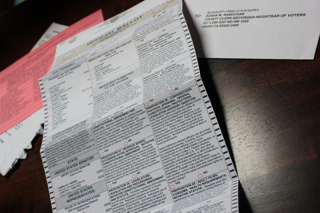 The unvoted front of my absentee ballot.