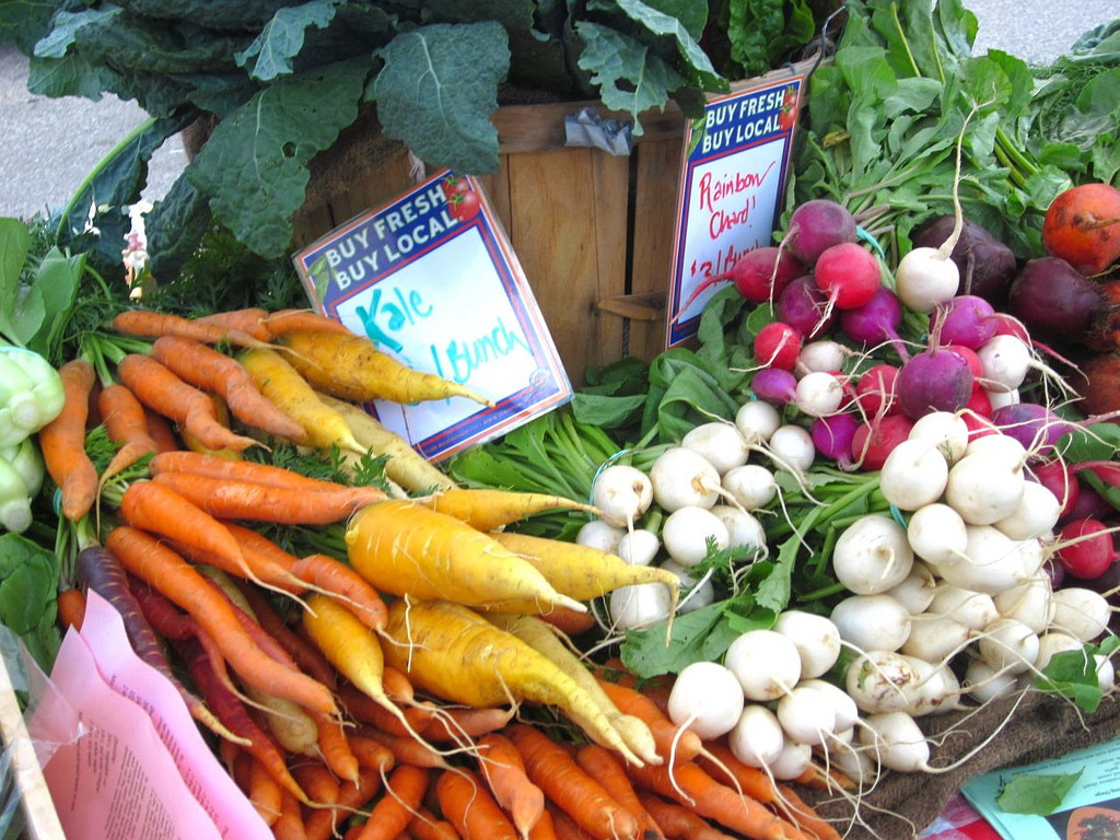 Vegetables for sale at a market.