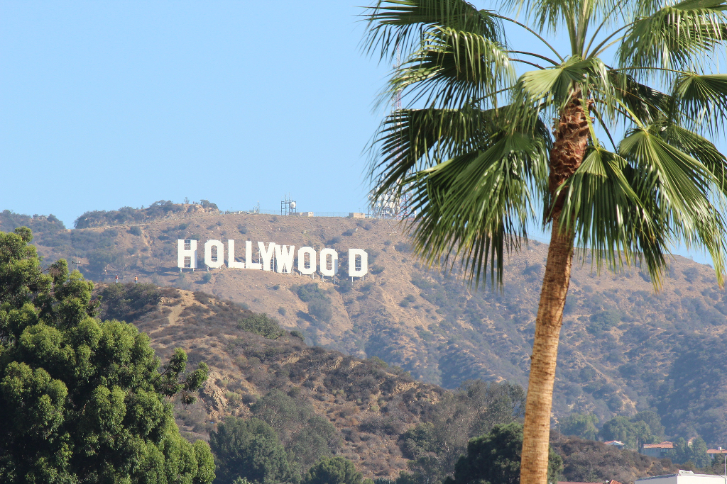The Hollywood sign on a sunny day.