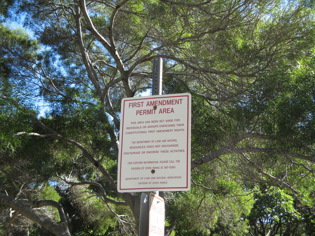 A sign advising the reader that they are standing in a designated free speech area.