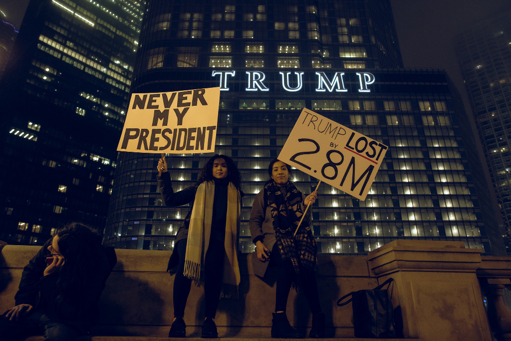 Protesters reminding people that Donald Trump lost the election.