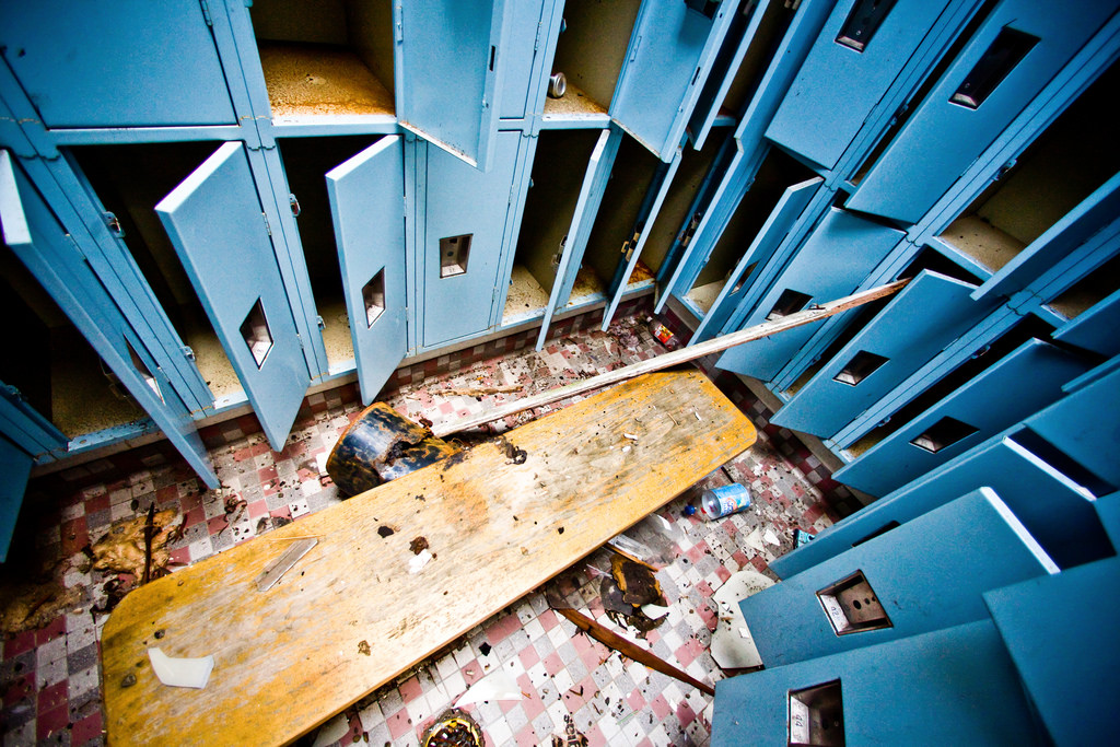 A derelict locker room.