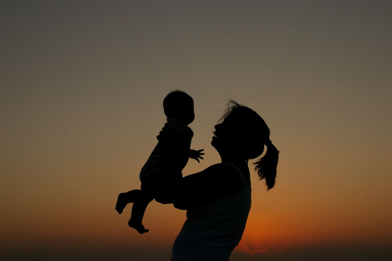 A silhouette of a parent holding up a child.