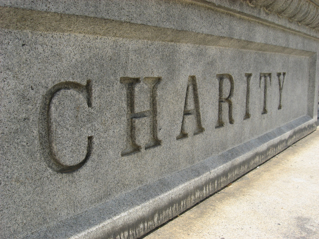 A headstone that reads CHARITY