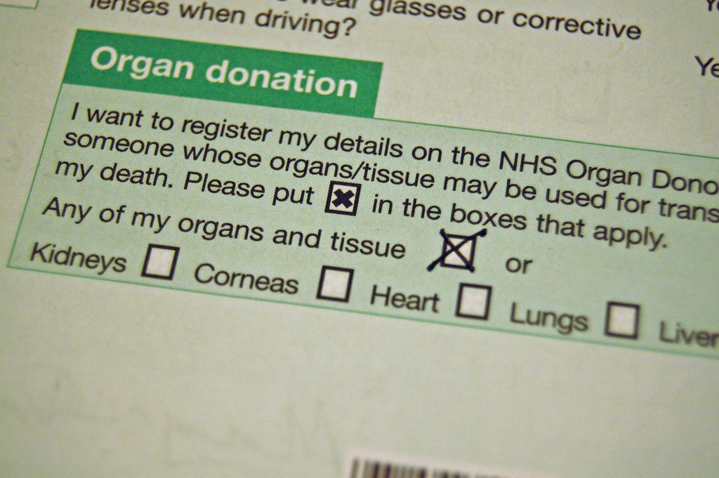An NHS organ donation consent form